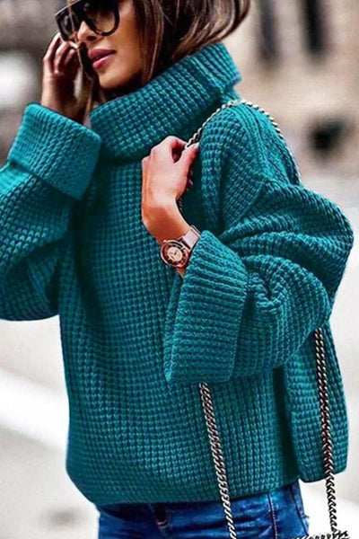 Averly Turtleneck Sweater - Small / Teal - sweater