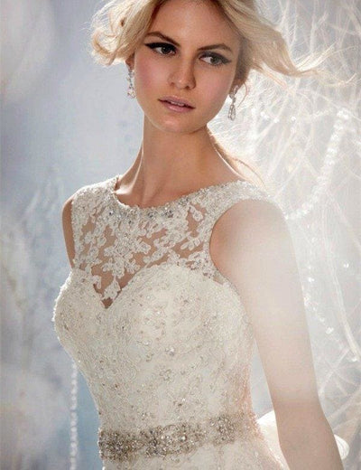 Azzora Crystal Beaded A Line Wedding Dress - Wedding Dress
