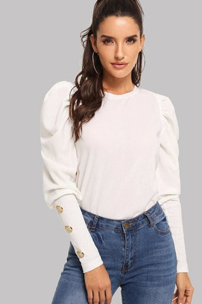Calista Puff Sleeve Top - XSmall / White - Tops
