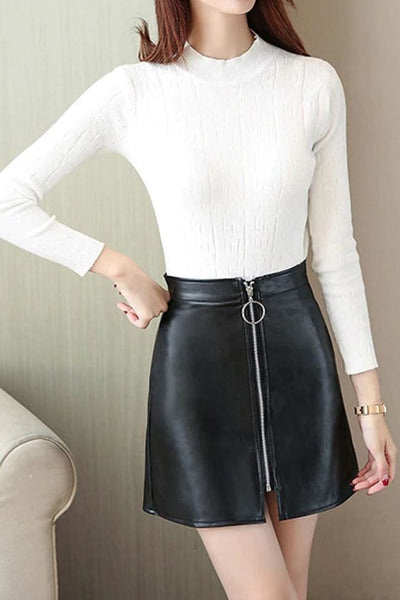 Chelsea Faux Leather Skirt - Skirt