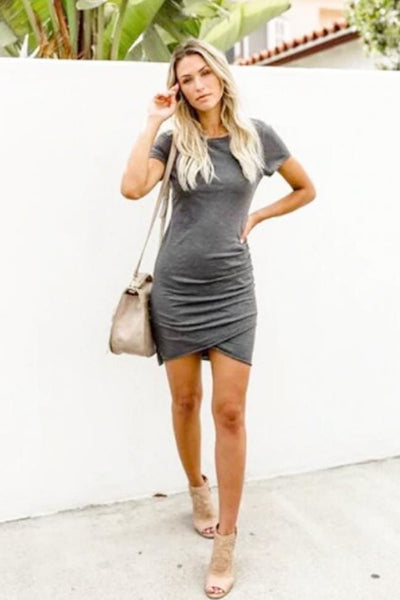 Costa Del Sol Jersey Dress - Small / Graphite - Dress