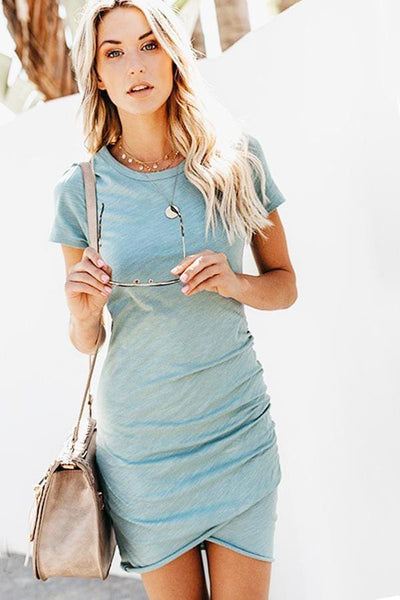 Costa Del Sol Jersey Dress - Small / Slate Blue - Dress