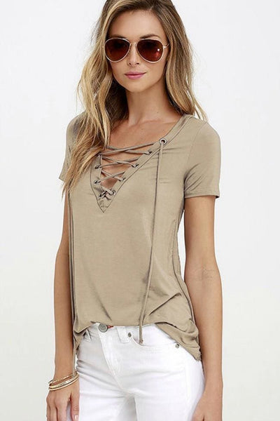 Crossing The Line Top - Small / Khaki