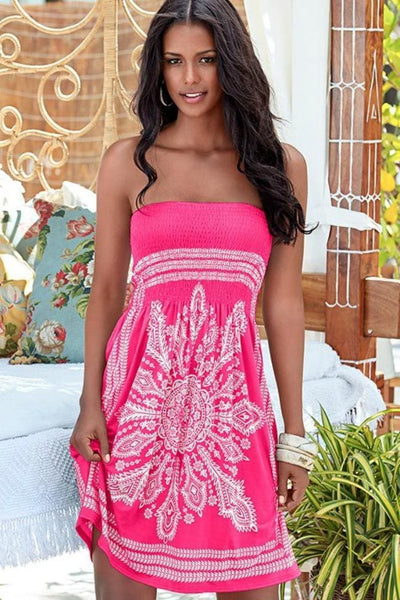 Dancing On The Beach Bandeau Dress - Small / Pink - Dress