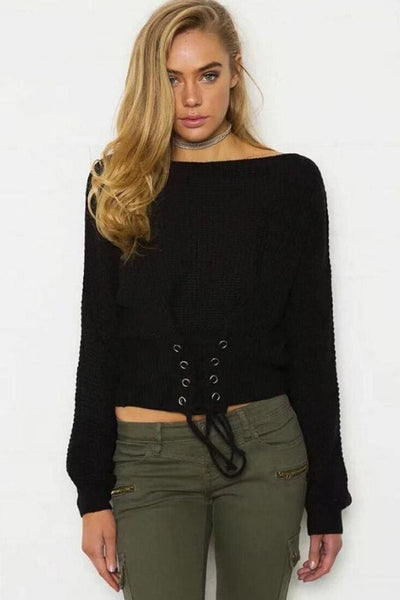 Darby Knit Top - Black - sweater