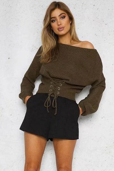 Darby Knit Top - Olive - sweater