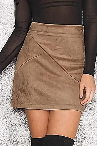 Doria Faux Suede Skirt - Small / Camel - Skirt