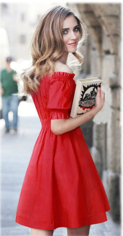 Dream On Off Shoulder Dress - Small / Red - Dress