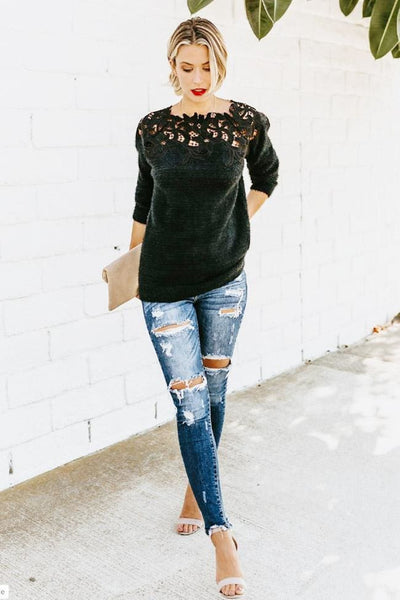 Infinite Envy Lace Sweater Top - sweater
