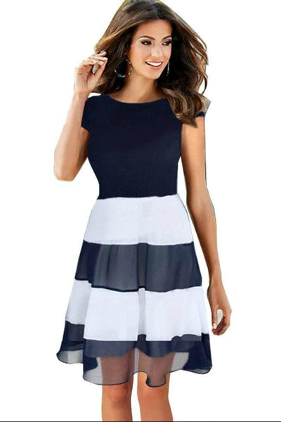 Its a Beautiful Day Black and White Pleated Chiffon Dress - Dress