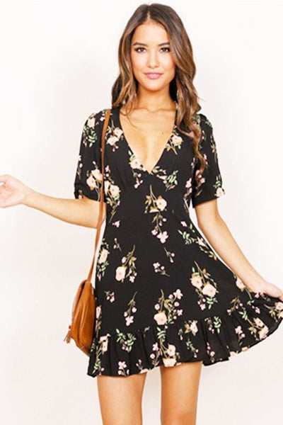 Just Between Us Floral Mini Dress - Dress