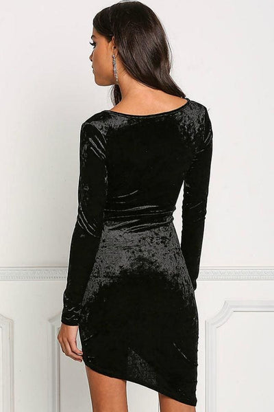Kiss Me at Midnight Black Velvet Dress - Dress