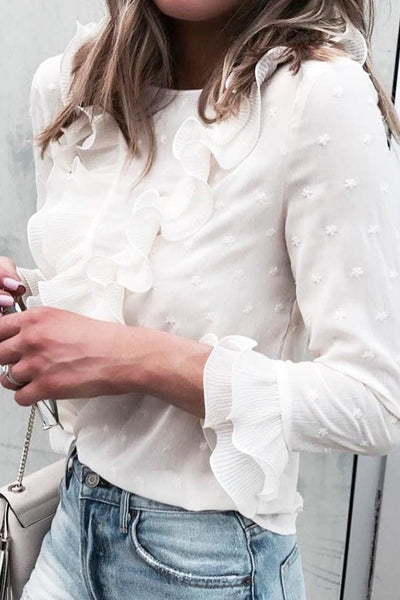 Love on the Run Ruffled Blouse - Small / White - Tops