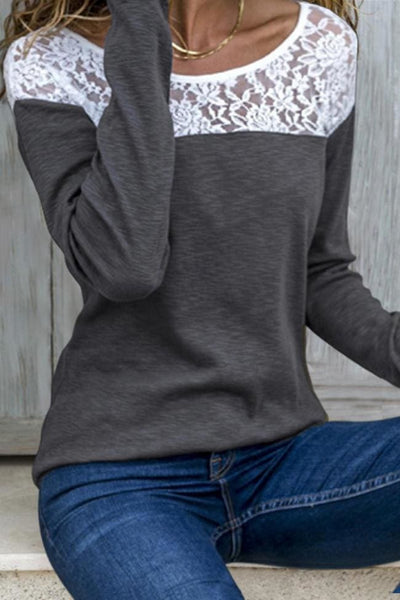 Mansfield Lace Top - Small / Gray