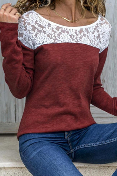 Mansfield Lace Top - Small / Wine