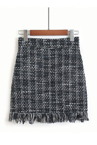 Marbury Tweed Skirt - Small / Black - skirt