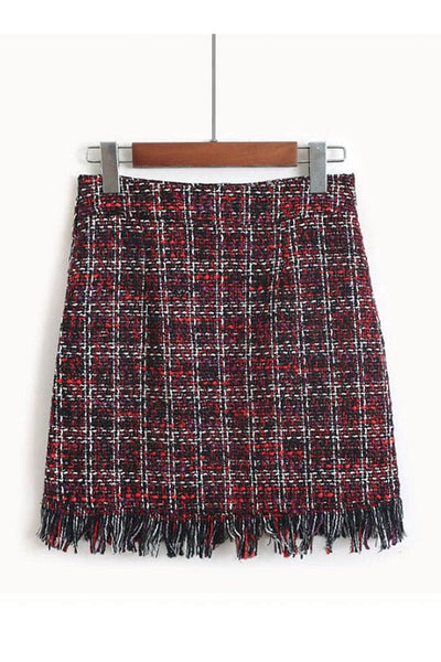 Marbury Tweed Skirt - Small / Red - skirt