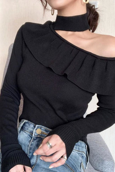 Norwood One-Shoulder Choker Sweater Top - Black - sweater