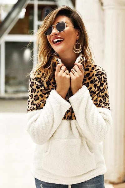 Oletta Leopard Fleece Pullover - sweater