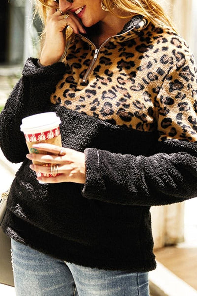 Oletta Leopard Fleece Pullover - Small / Black - sweater