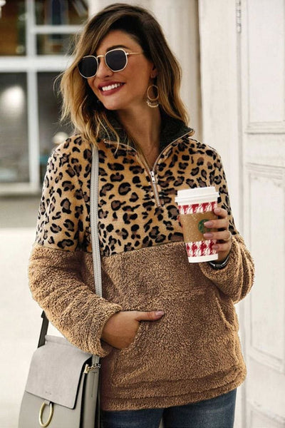 Oletta Leopard Fleece Pullover - Small / Khaki - sweater