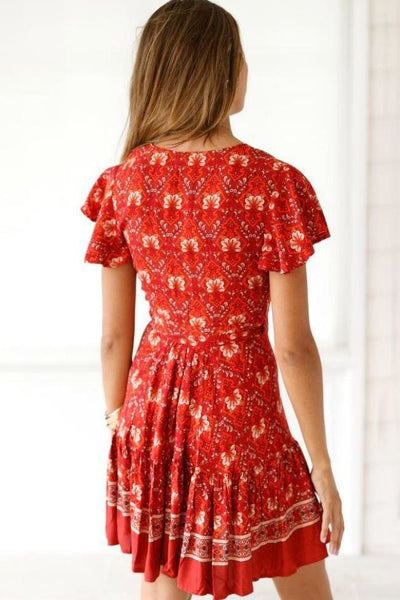 On The Patio Red Floral Dress - Dress