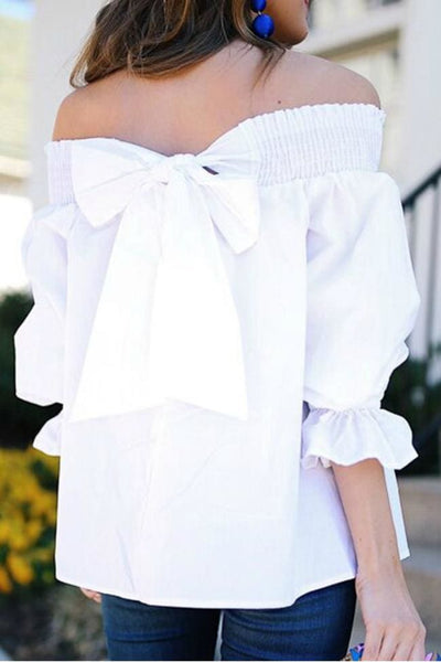 One Last Chance Off the Shoulder Bowknot Top