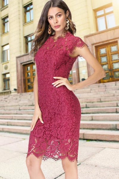 Sanford Lace Dress - S / Burgundy - Dress