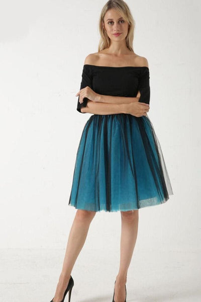 Sarnalina Tulle Skirt - Black/Blue - Skirt