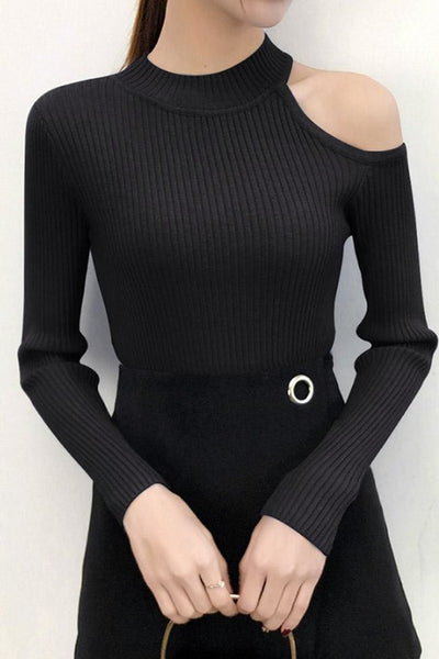 SoHo One-Shoulder Sweater Top - Black - sweater