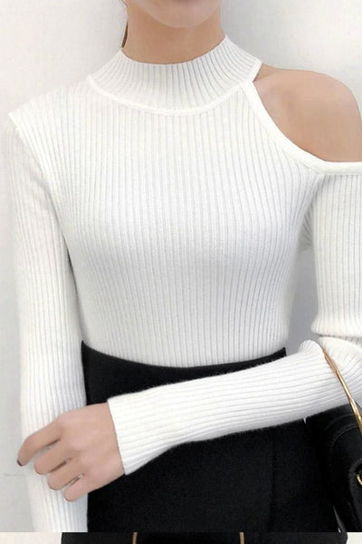 SoHo One-Shoulder Sweater Top - White - sweater