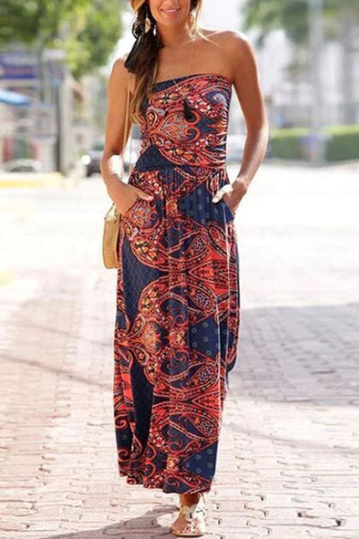 Sunset Wishes Bandeau Maxi Dress - Dress