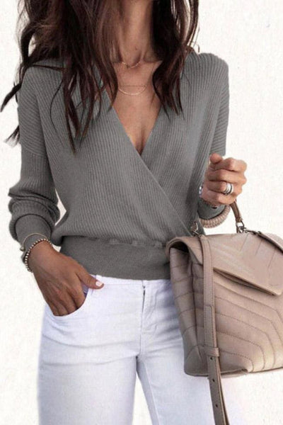 Tulia Sweater Top - Small / Grey - sweater