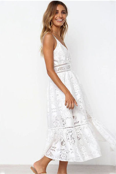 Weekend in Positano Boho Lace Midi Dress - Dress