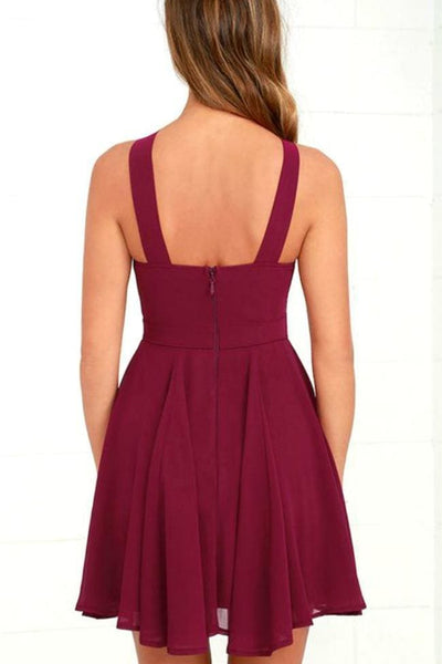 Wishful Thinking Burgundy Halter Dress - Dress