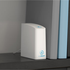 LeakSmart Smart Home Hub 3.0 placed on a bookshelf