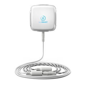 SensXtend by LeakSmart product photo featuring the LeakSMart Water Sensor in a wall-mounted dock with extension and rope water sensor cbales coiled beneath, on a white background.