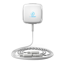 Load image into Gallery viewer, SensXtend by LeakSmart product photo featuring the LeakSMart Water Sensor in a wall-mounted dock with extension and rope water sensor cbales coiled beneath, on a white background.