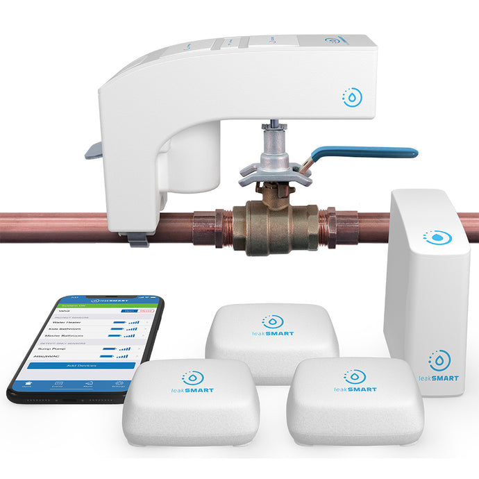 Snap by LeakSmart product family image displaying the Snap Valve on a copper water line, 3 LeakSmart  Water Sensors, 1 LeakSmart Smart Home Hub 3.0, and LeakSMart mobile app display on iPhone.