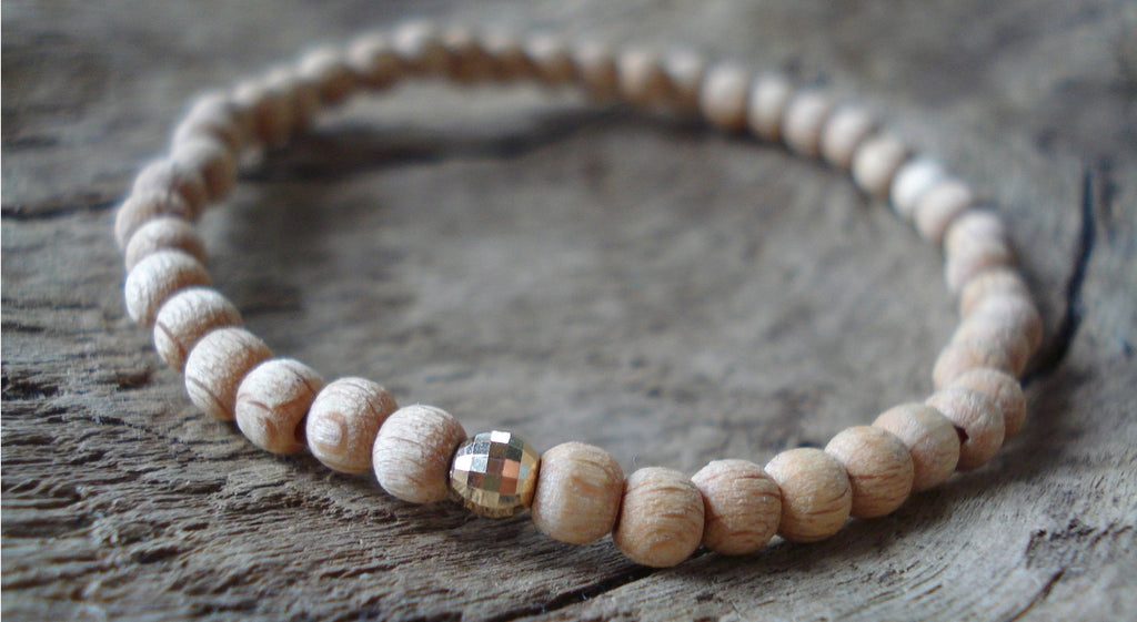 Natural Wood and Faceted Gold