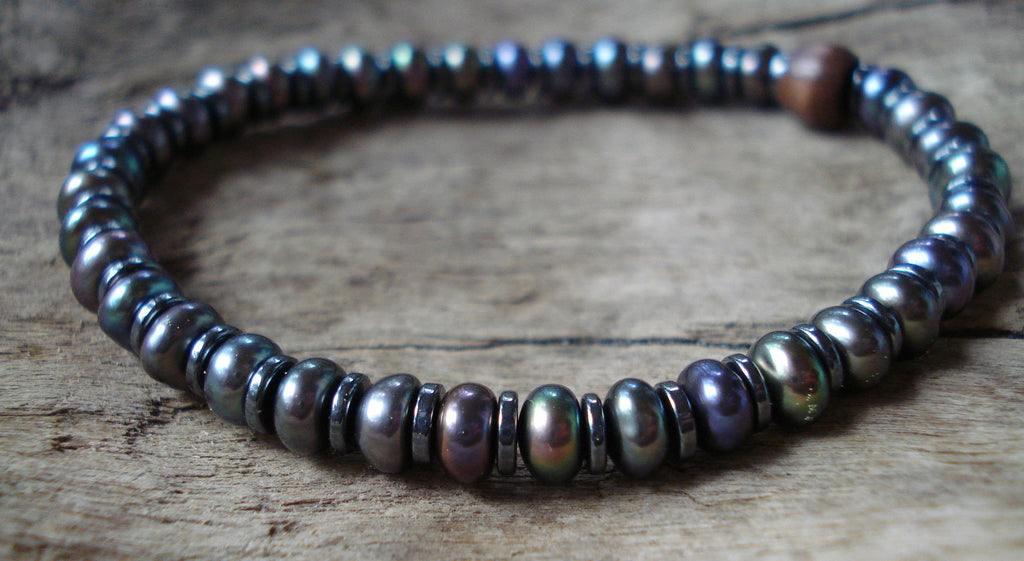 Peacock Pearl and Hematite