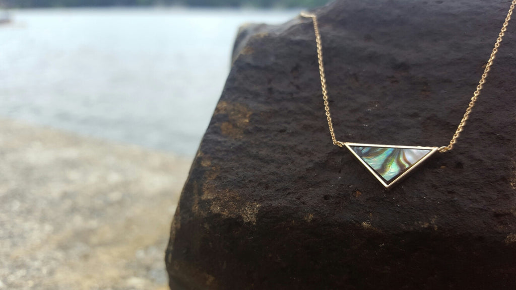 14kt yellow gold necklace with a triangle abalone pendant.
