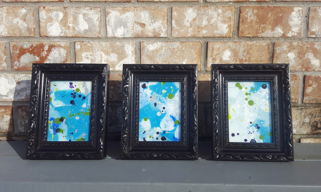Abstract painting trio by artist Heather Johnson