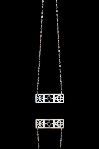Trio Onyx Block Necklace