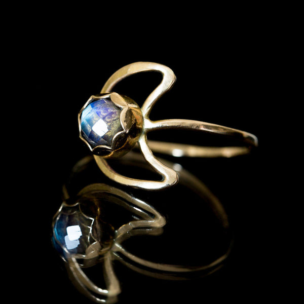 Gold Moonstone Moon Ring
