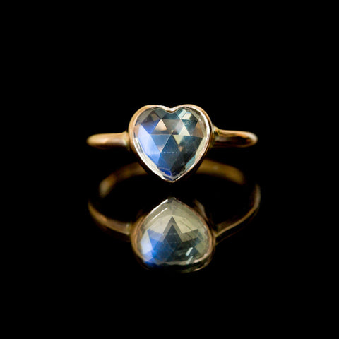 Heart Moonstone Engagement Ring