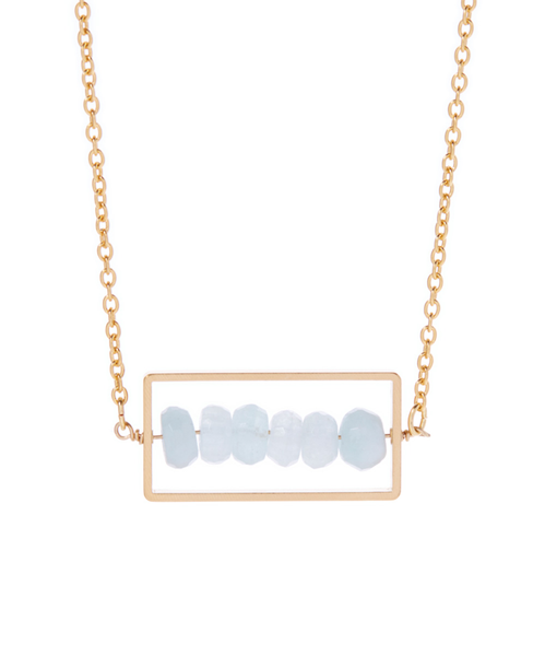 Rectangle Aquamarine Abacus Necklace