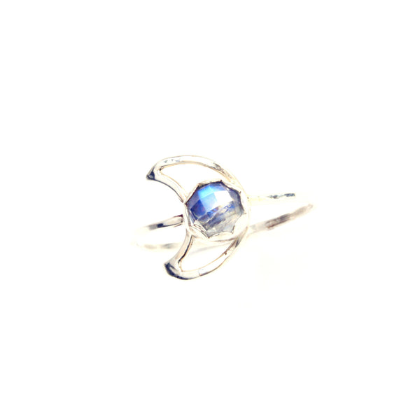Moonstone Moon Ring