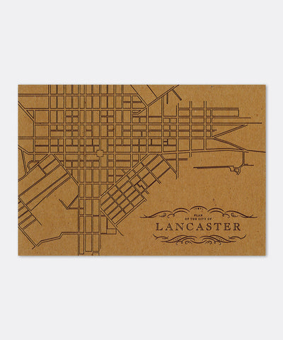 Lancaster City Map Postcard
