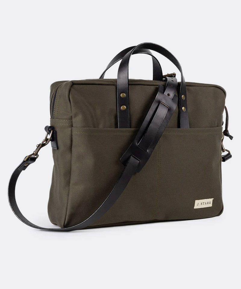 Prospect Briefcase in Olive Twill